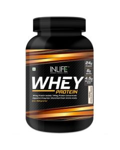 INLIFE Whey Protein Powder with Isolate Concentrate Digestive Enzymes for Gym Body Workout Supplement (Cookies  Cream 2lb  908 grams)