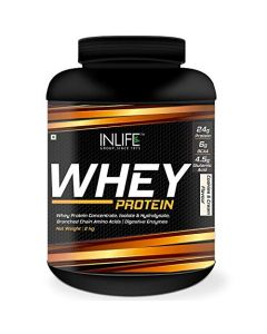 INLIFE Whey Protein Powder with Isolate Concentrate Digestive Enzymes for Gym Body Workout Supplement (Cookies  Cream5lb 2.27 Kgs)