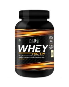 INLIFE Whey Protein Powder with Isolate Concentrate Digestive Enzymes for Gym Body Workout Supplement 1-kg (Vanilla, 2lb  908 grams)