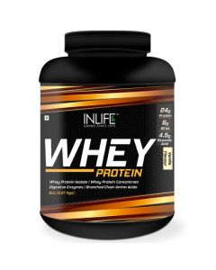 INLIFE Whey Protein Powder with Isolate Concentrate Digestive Enzymes for Gym Body Workout Supplement (Vanilla 5lb  2.27 Kgs)
