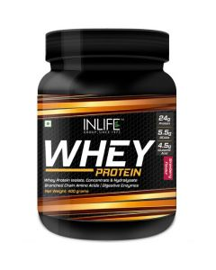Inlife Whey Protein Powder With Isolate Concentrate Hydrolysate  Digestive Enzymes - 400 Grams (Strawberry)