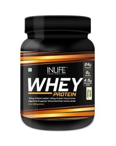 Inlife Whey Protein Powder With Isolate Digestive Enzymes - 400 Grams (Vanilla, 1Lb )