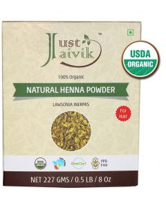 Just Jaivik 100% Organic USDA Certified Henna Powder - 227g