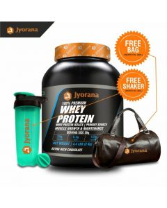 Jyorana 100% premium Whey protein with Isolate as Primary Source , LAB TESTED - 2 Kg (4.4 Lbs) with Free Sports Bag and Shaker Bottle