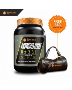 Jyorana Advanced Whey Protein Isolate, LAB TESTED - 1Kg(2.2 Lbs) with Free Sports Bag