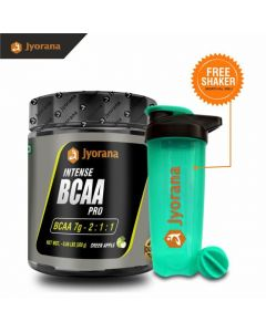 Jyorana Intense BCAA Pro 7 gm, LAB TESTED - 300gm (0.66 lbs), Flavor - Green Apple with Free Shaker Bottle