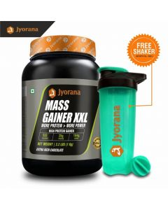 Jyorana Mass Gainer XXL, LAB TESTED - 1 Kg(2.2lbs) with Free Shaker bottle , Extra Rich Chocolate Flavor
