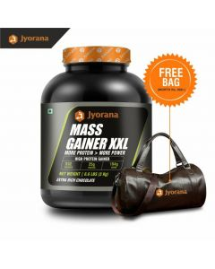 Jyorana Mass Gainer XXL, LAB TESTED - 3 Kg(6.6lbs) with Free Sports Bag , Extra Rich Chocolate Flavor