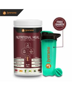 Jyorana Nutritional Meal with High Protein, Ayurvedic Herbs and Multi Vitamins & Minerals, LAB TESTED - 500gm (1.1 lbs), Flavor - Extra Rich Chocolate with Free Shaker Bottle
