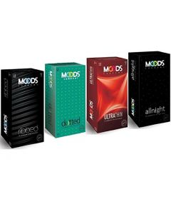 Moods Combo Set (All night, Dotted, Ultrathin, Ribbed) Condom (Set of 4, 48S)