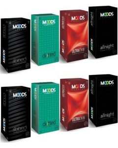 Moods Ribbed, Dotted, Ultrathin, Allnight Mix 96pc Condom (Set of 8, 96S)