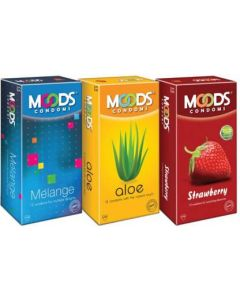 Moods Melange, Aloe and Strawberry Condom (Set of 3, 36S)