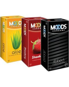 Moods Aloe, Strawberry & Ribbed Condoms Condom (Set of 3, 36S)