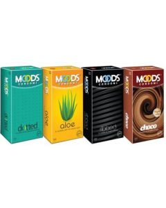 Moods Dotted, Aloe, Ribbed and Choco Condom (Set of 4, 48S)