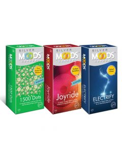 Moods Condoms Combo (1500 Dots - 12 Count, Joyride - 12 Count, Electrify - 12 Count)