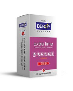 Beboy Extra Time Super Dotted Condoms - 12 Count (Orange Flavour, Climax Delay Condoms)
