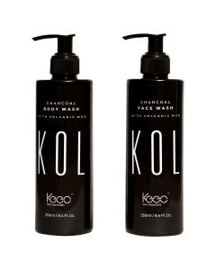 Kol by Keeo Activated Charcoal and Volcanic Mud infused Body Wash, 250ml | Charcoal Body Wash for Men and Women | 100% Vegan