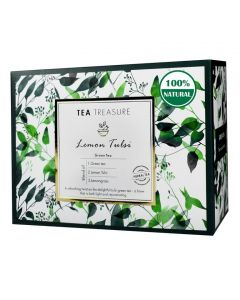 TeaTreasure Lemon tulsi Green Tea - Antioxidants Rich, Immunity Booster Detox Tea - 1 Teabox (18 Pyramid Tea Bags)