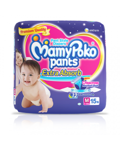 MamyPoko Pants Extra Absorb Diaper Medium Size pack 15