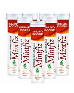Mint Veda Mintfiz Immunity Booster 20 Effervescent Tablets Orange Flavour Pack of 5