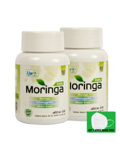 Liwo Moringa Daily - 60 Tabs With 1 KN95 Mask Free (Pack of 2)