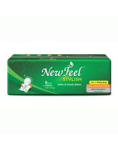 Newfeel 230mm Regular Maxistylish Sanitary Napkin L-Size 32 Pcs (4 Pack Of 8 Pcs)