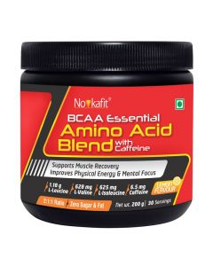 Novkafit BCAA Essential Amino Acid Blend + Caffeine Powder (Lemon Flavour) 200 g