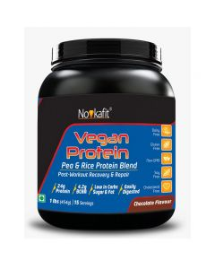 Novkafit Vegan Protein, Pea & Rice Protein Isolate (100% Plant-Based) 1 lb (454 g), Chocolate