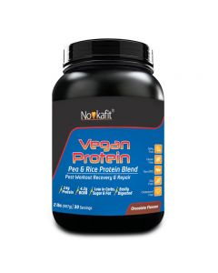 Novkafit Vegan Protein, Pea & Rice Protein Isolate (100% Plant-Based) 2 lb (907 g), Chocolate