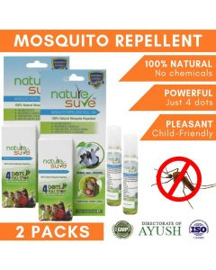 Nature Sure Herbal Mosquito Repellent Roll-On with Lemongrass, Nilgiri and Neem for Adults and Kids - 2 Packs (7ml Each)