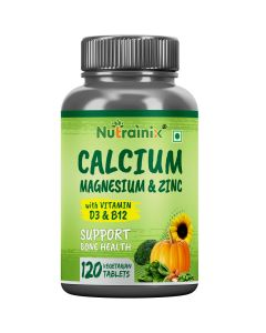 Nutrainix Calcium, Magnesium, Zinc, D3 & B12 | Supports Bone Health - 120 Vegetarian Tablets