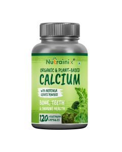 Nutrainix Certified Organic & Plant-Based Calcium 650mg for Bone Strength - 120 Vegetarian Capsules