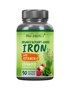 Nutrainix Certified Organic & Plant-Based Iron Supplement with Vitamin C, Beetroot, Spinach leaves for Red Blood Cell Function - 90 Vegetarian Capsules