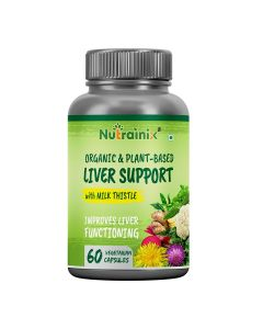 Nutrainix Certified Organic & Plant-Based Liver Support with Milk Thistle - 60 Vegetarian Capsules
