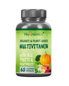 Nutrainix Certified Organic & Plant-Based Multivitamin with all Fruits & Vegetables for Men & Women - 60 Vegetarian Capsules