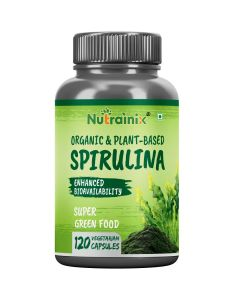 Nutrainix Certified Organic & Plant-Based Spirulina Super Green Food with Enhanced Bioavailability 2000mg per serving - 120 Vegetarian Capsules