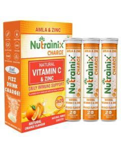 Nutrainix Charge Vitamin C antioxidant 1000 mg - Natural Amla for Immunity - 60 Effervescent Tablets - Orange Flavour | Immunity Booster | Antioxidant (Pack of 3)