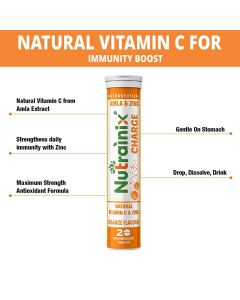 Nutrainix Charge Vitamin C antioxidant 1000 mg, Natural Amla for Immunity - 20 Effervescent Tablets - Orange flavour