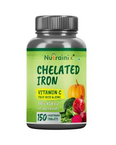 Nutrainix Chelated Iron with Vitamin C, B12, Folic Acid & Zinc Supplement – 150 Vegetarian Tablets