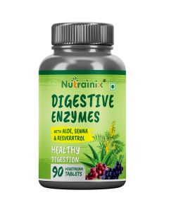 Nutrainix Digestive Enzymes | New Formula Now with Resveratrol | Aloe Vera | Senna | 18 All Natural Ultra Enzymes | Supports Healthy Digestion - 90 VegetarianTablets