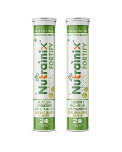 Nutrainix Fortify Calcium supplement - 500mg Elemental Calcium - Vitamin D3 for Complete bone health and support - 40 effervescent tablets - Lime and Lemon flavour