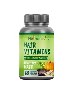 Nutrainix Hair Vitamins with Biotin 5000mcg for Healthy Hairs - 60 Vegetarian Capsules