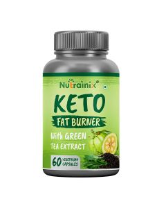 Nutrainix Keto Fat Burner with Garcinia Cambogia Fruit & Green Tea Extract for Weight Management - 60 Vegetarian Capsules