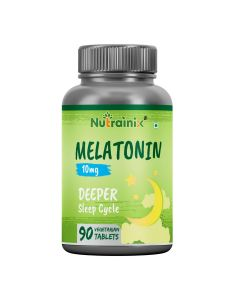 Nutrainix Melatonin - 10mg | Formulated to Promote Peaceful Sleep | Non Habit Forming Natural Sleep Supplement | 90 Vegetarian Tablets