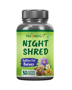 Nutrainix Night Shred Bedtime Thermogenic Fat Burner – Sleep Aid – Keto-Friendly – Weight Loss, Boost Metabolism with CLA - L-Carnitine - Ashwagandha - GABA - Chamomile - L-Tryptophan– 30 Veg Capsules