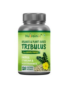 Nutrainix Organic Tribulus Terrestris from Gokhru Powder, Vegan Nutrition Supports Men's Reproductive Health, Promote Lean Muscle Mass - Pack Of 120 Capsules