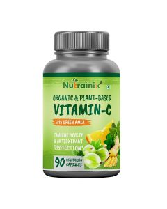Nutrainix Organic Vitamin C 1000mg Immunity Booster with Green Amla, Moringa Leaves, Green Ginger, Supports Glowing Skin - 90 Vegetarian Capsules