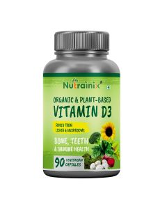 Nutrainix Organic Vitamin d3 5000iu from Lichen & Mushrooms - 90 Vegetarian Capsules