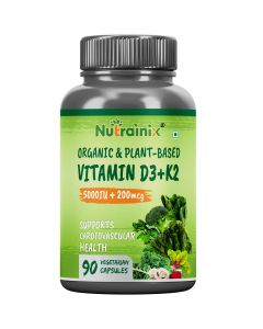 Nutrainix Organic Vitamin d3 5000iu + K2 as MK7 200mcg supplement, Supports Heart & Bone Health - 90 Vegetarian Capsules