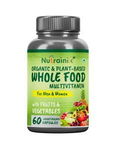 Nutrainix Organic Whole Food Multivitamin for Men & Women - Natural Vitamins, Minerals, Raw Organic Extracts - Best Supplement for Energy and Heart Health - 60 Vegetarian Capsules
